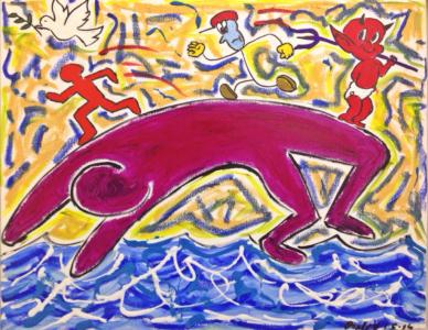 DIAVOLO DI UN PONTE Olio e smalti su tela dim. 50x40 Tra diavoli e colombe nasce il Ponte Gobbo di Bobbio. 01/05/2014
