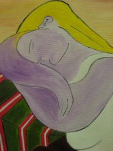 DONNA DAI BIONDI CAPELLI Olio su tela dim. 50x60 Tributo a Picasso. 05/07/2012
