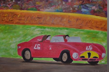 GOODWOOD Olio su tela 40x30  Il rosso dell' Alfa immerso nei prati inglesi. 02/03/2012
