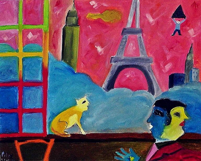 IL VIAGGIO Olio su tela dim. 50x40 Con l'arte si annullano le distanze. Un'onda di colore da Parigi a New York. 22/01/2012