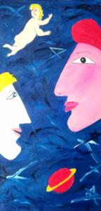 OPPOSTI UNIVERSI Olio su tela 30x60 Uomo e Donna. Due pianeti lontani nello stesso universo. 26/07/2012
