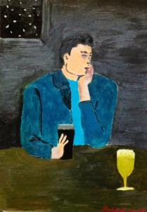 PENSIERI SERALI  Olio su cartoncino dim. 25x30 Autoritratto. In un pub irlandese il pittore immerso nei suoi pensieri. 04/01/2006