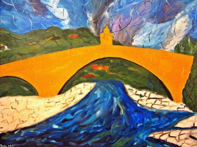 PONTE GOBBO Olio su tela dim. 60x50 Il fiume Trebbia scorre sotto le gobbe dell'antico ponte di Bobbio. 01/05/2012