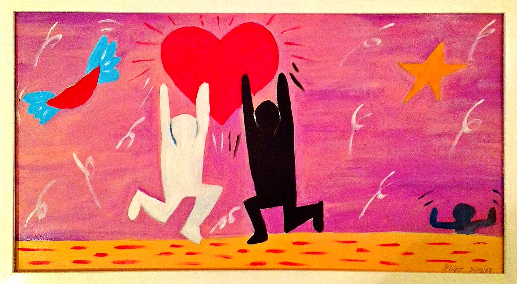 UAKA UAKA  Olio su tela dim.30x60 La gioia dell'amore sotto l'influsso newyorkese di Keith Haring. 31/05/12