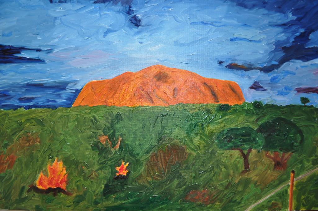 ULURU Olio su tela dim. 60x40 Il cuore dell' Australia batte nella spiritualità aborigena. 18/04/2012