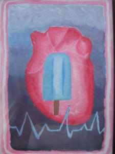 UN CALDO AMORE Olio su cartoncino dim. 25x35 Prima opera. Il ghiaccio, cura di un cuore agitato. 23/01/2004